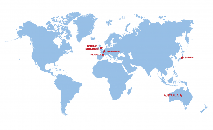 Hiram College Study Abroad Global Map of All Trips for the Spring of 2018 and Fall of 2019