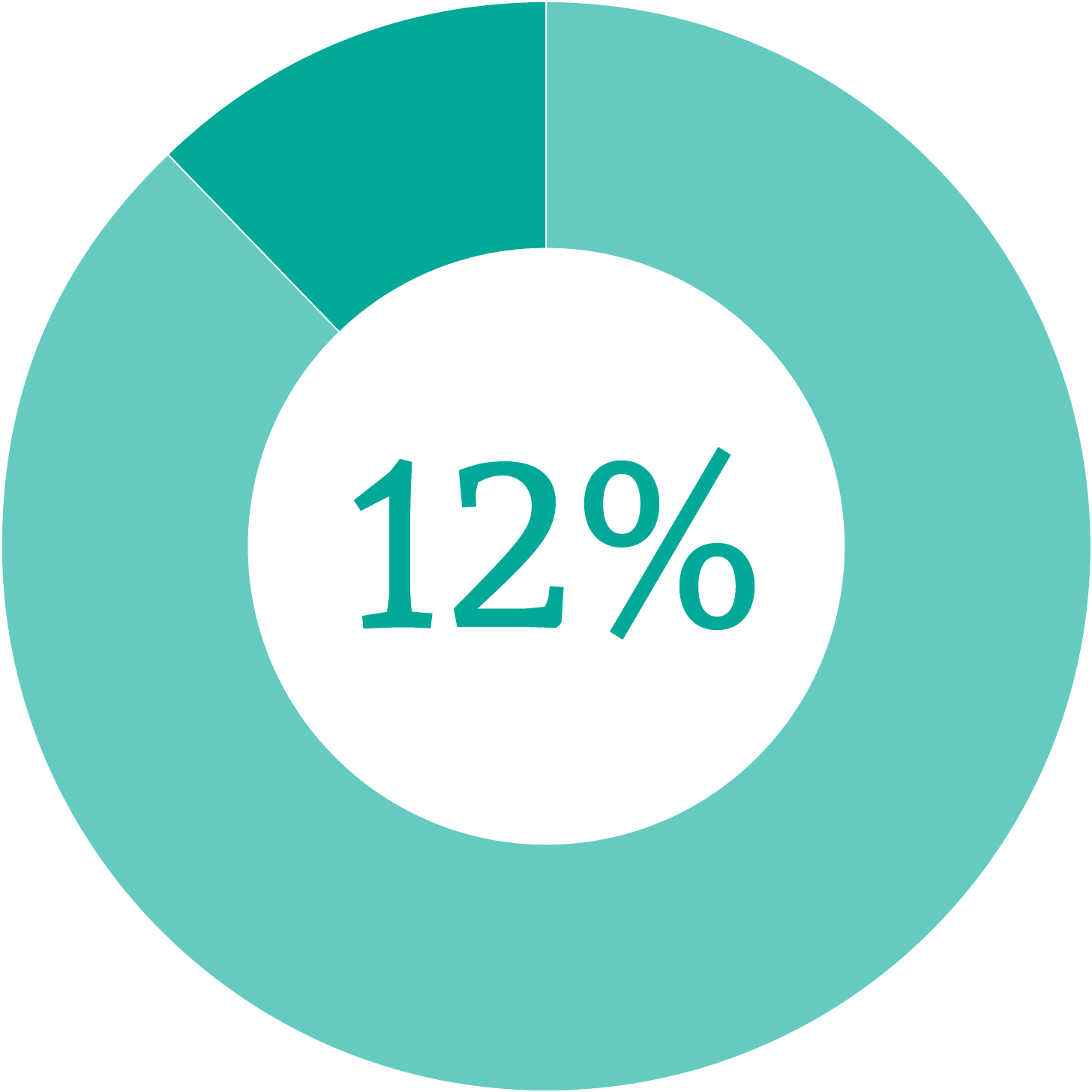 Donut chart showing 12% filled in